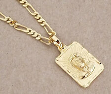 Lady's Men's 20in Long Figaro Chain & Square Christ Charm Set Yellow Gold Plated