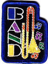 """BAND"" w/MUSICAL INSTRUMENT- Iron On Applique Patch/Rock N'Roll,Jazz,50'S"