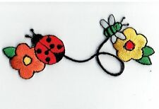 Iron On Embroidered Applique Patch Ladybug with Bee and Daisy Flowers