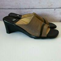 Stuart Weitzman Champagne & Brown Slide Sandals Size 7 Narrow 7N AA