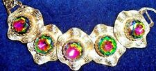 VINTAGE SIGNED JUDY LEE BRACELET HUGE WATERMELON Prong Set HEADLIGHT STONES