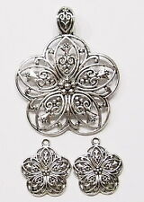 Antique Silver Plated Floral Five Sided Flower Pendant and Earring Set Big Bail