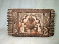 1800's Old Antique Wooden Hand Carving Wood Hindu Lord Figure Wall Panel Plaque