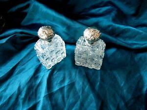 1884 Victorian Antique Cut Crystal Glass Perfume Bottle Silver lid London
