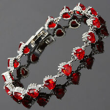 Charming Women Jewelry Red Ruby White Gold Gp Garnet Dainty Tennis Bracelet