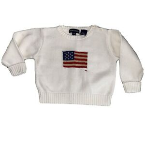 Polo Ralph Lauren Sweater For Boys Size L/XL Youth Ivory American Flag RL