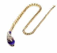 VIctorian Snake Necklace, Graduated Gold, Pearls, Ruby and Enamel
