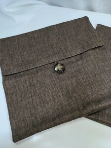 "Newport Brown Button Pillow Covers Set of 2 18"" Decorative Throw Farmhouse"