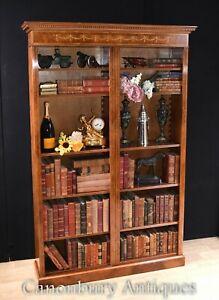 Walnut Bookcase - Single Sheraton Regency Open Bookcases