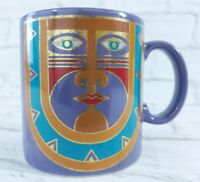 Laurel Burch KUBERA Coffee Mug Tribal Mask Purple Gold Made in Japan