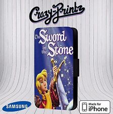 Sword In The Stone Cool fits iPhone/Samsung Leather Flip Case Cover R116