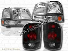 98 99 2000 FORD RANGER CLEAR HEADLIGHTS + CORNER LIGHTS + DARK SMOKE TAIL LIGHTS