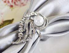 Wedding Linens Inc. ( 6 PCS) Rhinestone Napkin Rings Swirl Pearl Party Banquet