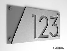 Modern House Numbers, Alucobond with Grey Acrylic - Sign Plaque - Door Number