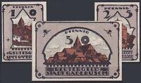 Notgeld Gadebusch Reutergeld, 10 , 25 , 50 Peniques 1921 , 3 Billetes