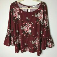 Nine Britton Stitch Fix Women's Top Size 2XL Floral 3/4 Bell Sleeves Maroon
