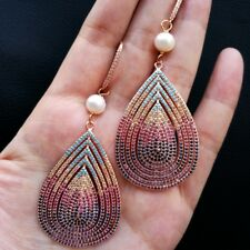 """Pave Teardrop Earrings 3.2""""White Pearl Cz"""