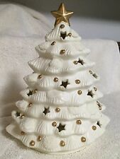 Christmas Tree Porcelain Tea Light Candle Holder Off White Home Decor
