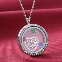 Love You Mom Sliver Living Memory Locket For Floating Charms Heart Necklace Gift
