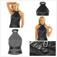 Women Fashion Faux Leather Tank Top Halter Backless Blouse Vest Shirt Dance Club