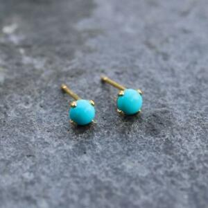 Arizona Sleeping Beauty Turquoise 14k Gold Filled Stud Earrings 4mm Round Gift