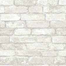 WALLPAPER BY THE YARD NU1653 Light Grey and White Brick Peel and Stick