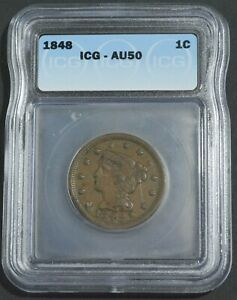 1848 Braided Hair Large Cent EF XF - ICG Over Graded AU50 In Slab
