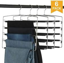 6 x Clothes Pants Hangers 5 Layers Closet Storage Organizer Space Saving