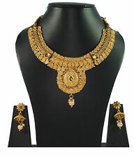 Joovaa South Indian Gold plated traditional Necklace & earrings Temple Jewellery