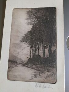 Antique landscape etching, pencil signed; print  Rambling?