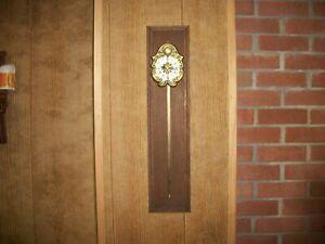 Vtg. Anno 1750 Style-Sawtooth Gravity Clock/Porcelain Dial Brass on Walnut