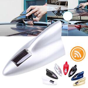 Silver Solar Car Shark Fin dummy Antenna LED 8 Warning Flash Tail Light Shell
