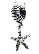 925 Solid Sterling Silver Dangling Starfish Bracelet/Necklace Bead Charm 1.02in