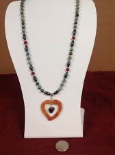 Natural Carnelian Turquoise Hematite Necklace & Pendant 20""