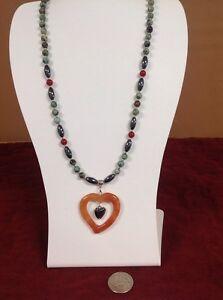 "Natural Carnelian Turquoise Hematite Necklace & Pendant 20"""