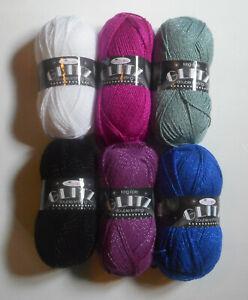 King Cole Glitz DK 100g Ball Acrylic/Polyester Knitting Yarn Many Colours