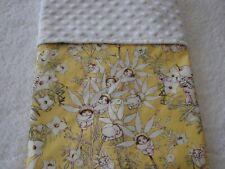 Gumnut Babies Yellow Cotton Front White Minky Bassinet/Crib Blanket Handmade