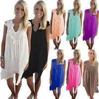 Plus Size Boho Women Lace Mini Dress Loose Beach Holiday Cover Up Tunic Sundress