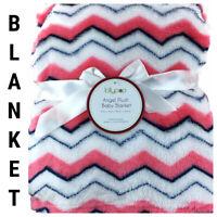 New Baby Kids Blanket Plush Fleece Modern Chevron Print Pink White Blue Lollypop