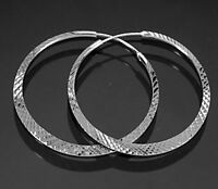 925 ECHT SILBER RHODINIERT *** Creolen platt diamantiert 40 mm