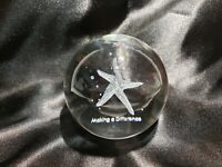 3D STARFISH Paperweight Laser Etched Crystal Glass sphere Birthday Gift with box
