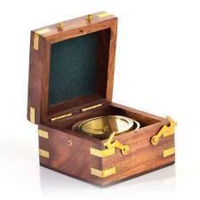 Nostalgischer maritimer nautischer Tischkompass SAN JUAN in Holzbox
