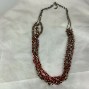 Vintage Cold Water Creek Red Beaded Necklace