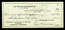 JIM REEVES Signed AUTOGRAPH 1960 Bank Check with PSA/DNA COA / Country Music