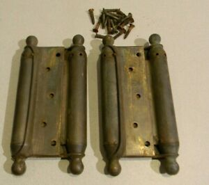 """Pair of Antique Bommer Brass 8.75"""" x 4.25"""" Double Acting Spring Hinges"""