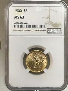 1900 $5 Liberty Head Half Eagle NGC MS63 Gold