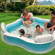 Family Lounge Pool With 4 Seats Inflatable Kids Outdoor Water Tub Drink Holders