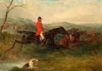 Art oil painting horseman hunter riding horse & Hounds jumping over the stream
