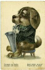 1940s Dog playing Saxophone Music Russian unposted postcard