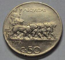 50 CENTESIMI LEONI 1919 VITTORIO EMANUELE III RIGATO BB